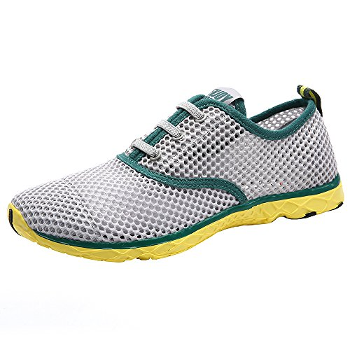 Aleader Men's Quick Drying Aqua Water Shoes Green 7 D US