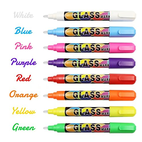 Liquid Chalk Markers Reversible Bullet Chisel Tip Nonporous Chalkboard Glass Windows Non-Toxic Erasable Pens Markers 8 Pack, Children - Makeup Glasses With Tips