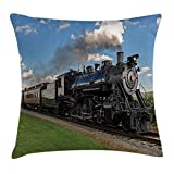 Heart Pain Steam Engine Throw Pillow Cushion Cover, Vintage Locomotive in Countryside Scenery Green Grass Puff Train Picture, Decorative Square Accent Pillow Case, Blue Green Black