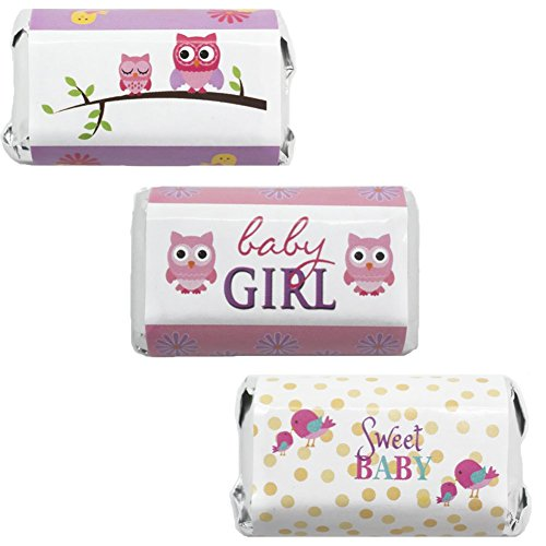 Sweet Baby Girl Owl and Tweet Baby Shower Miniatures Candy Bar Wrapper Stickers (Set of 54)