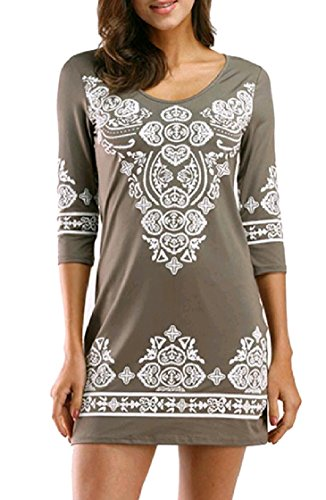 3 Shirt Length T Short Mini Pullover Coolred Ethnic 4 Painting Skinny Fashion Style Women Grey Dress Rw11aHq5