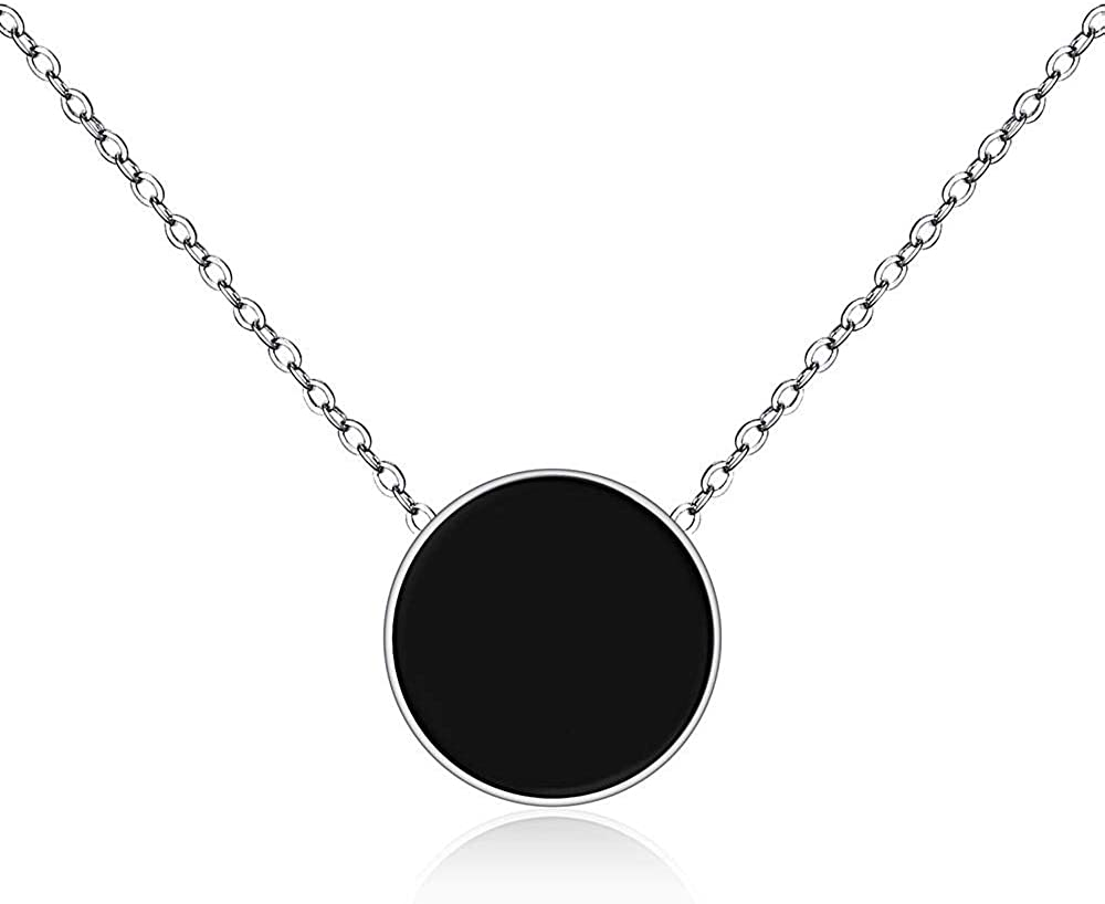 smydp Necklaces Stainless Steel Black Acrylic Short Chokers Necklaces for Women Rose Gold Fashion Chain Link Pendant Jewelry