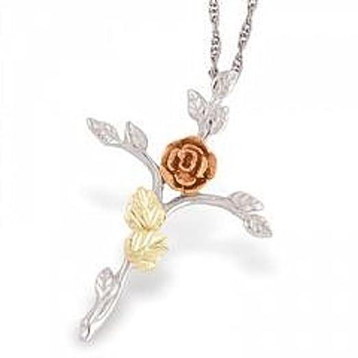 Amazon black hills gold silver rose cross necklace pendant black hills gold silver rose cross necklace aloadofball Images