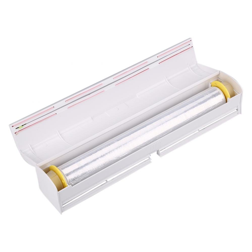 Plastic Wrap Dispenser,Refillable Food Freshness Wrap Dispenser With Stainless Blade Easy to Use Food Wrap Cutter Fit for Wrap Film with Max Length 9.05'',11.41'',13.77''