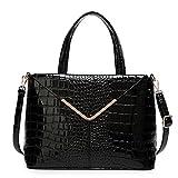 Patent Black Croc Print Faux Leather Shoulder Bag Tote Handbag