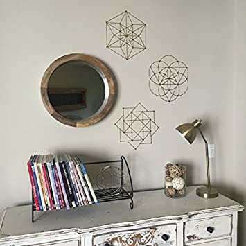 3 Sacred Geometry Wall Decals Metallic Gold Vinyl Wall Stickers
