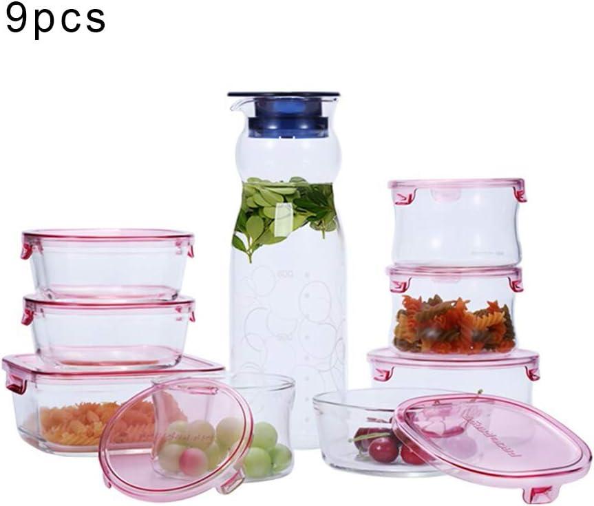 耐熱ガラス 保存容器 9点セットガラスふたストレージ気密ガラス容器ガラス容器食品保存容器とBPAフリー&ステイン耐熱ガラス保存容器
