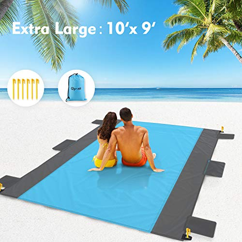 Glymnis Beach Blanket Sand Free Oversized Beach Blanket Mat 9 x10 ft XL Portable Compact Lightweight Water Resistant Durable Picnic Mat for Travel Camping Hiking
