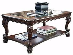 Ashley Furniture Signature Design   Norcastle Coffee Table   Cocktail  Height   Rectangular   Dark Brown