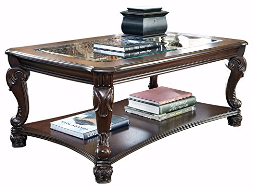 Cherry Finish Marble Coffee Table (Ashley Furniture Signature Design - Norcastle Coffee Table - Cocktail Height - Rectangular - Dark Brown)