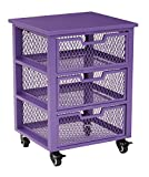 OSP Designs CLY03AS-512-osp Clayton 3 Drawer Rolling Cart In Metal Finish Frame, Purple