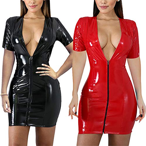 ECHOINE Womens PU Leather Slim Fit Sheath Bodycon Front Zipper Cap Sleeve Cocktail Party Mini Dress Red ()