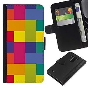 Be-Star la tarjeta de Crédito Slots PU Funda de cuero Monedero caso cubierta de piel Para LG G3 ( Polygon Art Vibrant Colors Yellow Pink )