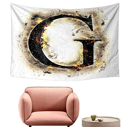 Agoza Decorative Tapestry Letter G Abstract Blaze Alphabet Design Fire Flame Burnt Capital Symbol Paper Effect Tapestry for Home Decor 80