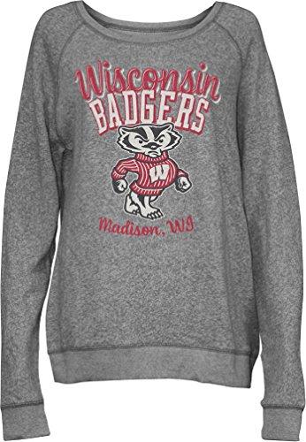 NCAA Wisconsin Badgers Junior's Blythe Knobi Crew Fleece, Large, Heather Grey