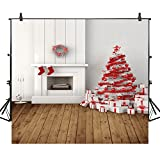 fireplace and t - Allenjoy 10x10ft Christmas Photography Backdrops Fireplace Xmas Tree Red Socks White Brick Wall Photo Studio Background Photocall
