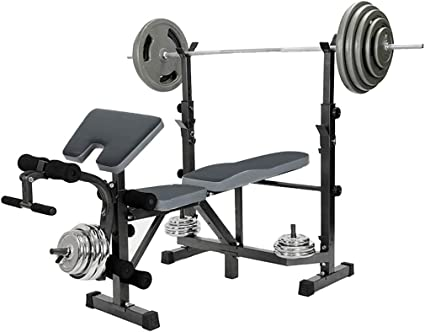 Adjustable Weight Lift Bench Rack Set Fitness Barbell Dumbbell Workout Fitness Equipment Multifunctional Olympic Weight Bench Rack Set