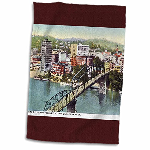 3dRose Birds Eye View of Business Section Charleston West Virginia Towel, 15