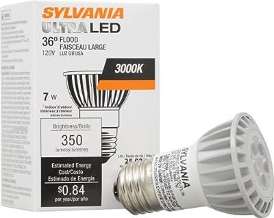 SYLVANIA Ultra LED Glass PAR16 Lamps / Dimmable LED Flood Light Bulb / Replacement for 50W Halogen Reflector Light Bulbs / Medium base E26 / 7 Watt / 3000K - warm white