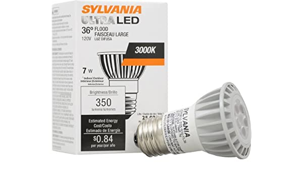 Sylvania Ultra cristal LED PAR16 lámparas/luz LED luz bombilla/reflector de repuesto para 50 W halógena regulable bombillas/tamaño mediano Base E26/7 W/3000 ...