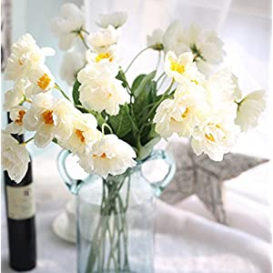 Skyseen 12 Bouquets 2 Heads Artificial Rosemary Poppy Flowers for Home Wedding Party Decor,White 108