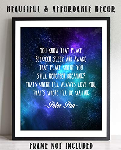 """Peter Pan Quotes-""""Place Between Sleep & Awake-Dream"""" 8 x 10-Wall Art Print-Ready To Frame. Starry Galaxy Typographic Print. Perfect Decor for Home-Bedroom-Play Room. Great Gift for All Peter Pan Fans."""