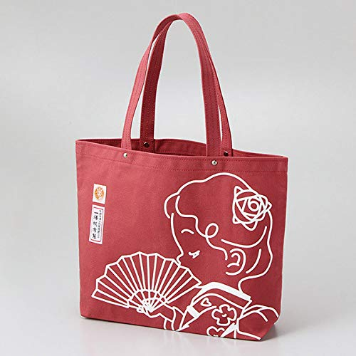 Ichizawa Shinzaburo Canvas Yokohama Takashimaya Original Rose Chan Pattern Tote Bag Size L Red