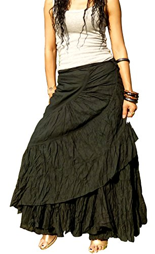 Billy's Thai Shop Sexy Wrap Skirt Pleated Gypsy Flamenco Long Skirts for Women, Black L