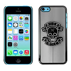 GOODTHINGS Funda Imagen Diseño Carcasa Tapa Trasera Negro Cover Skin Case para Apple Iphone 5C - rollo de roca gris de neón negro signo n cráneo