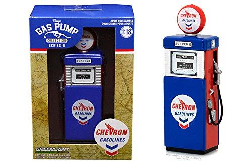 Greenlight 14020 A Vintage Gas Pumps Series 2  Blue 1951 Wayne Pump 505 Chevron Supreme 1 18 Scale