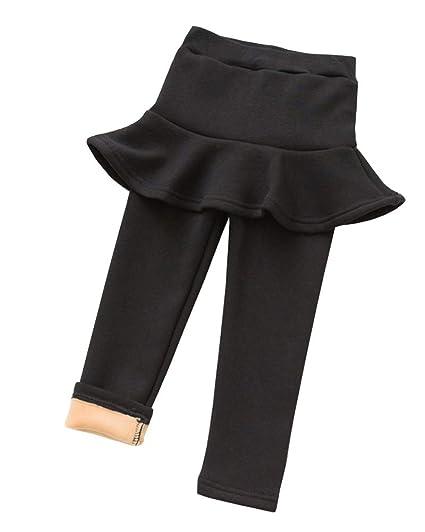 Niñas Leggings Largas con Falda Forrado Cálido Pantalones de ...
