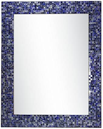 DecorShore 30 x 24 Glass Mosaic Framed Decorative Wall Mirror, Handmade Eclectic Accent Mirror, Unique Vanity Mirror Lapis Blue