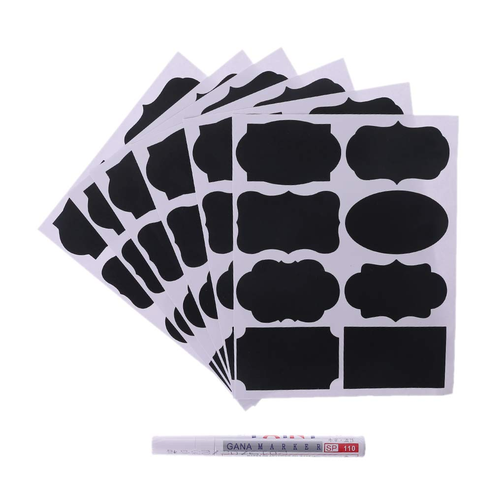 huyiko 1 Set Chalkboard Blackboard Chalk Board Autocollant Stickers Artisanat Cuisine Jar /Étiquettes Stylo Tasse Jar Confiture Organiser