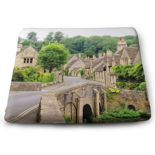 Indoor/Outdoor Comfortable Memory Foam Square Seat Cushion Cotswold Village UK Chair Pad Wheelchair Cushion for Car (Window Cushions Seat Uk)