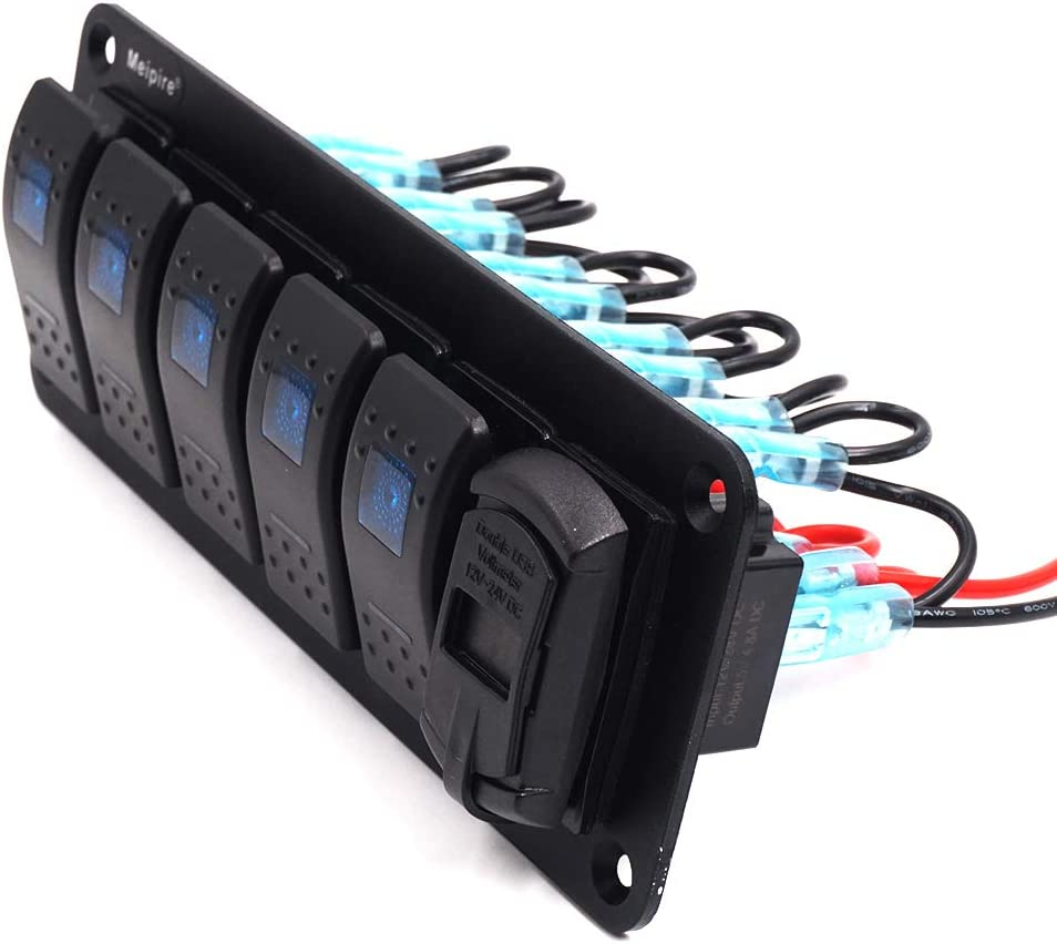 Meipire 5 Gang Switch Panel /& 4.8A Dual USB Charger with Blue LED for 12V ~ 24V Vehicles Car Boat SUV Truck Yacht RV Camper Construction Vehicle