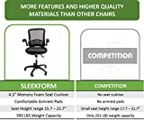 Sleekform Memory Foam Black Executive Office Chair - Ergonomic With Lumbar Support - Height Adjustable Seat & Arms - Breathable Mesh Back - Adjustable Tilt - Ultimate in Comfort & Function
