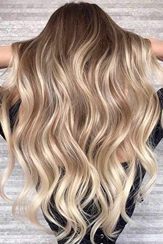 - Ugeat 14inch 9Pcs Clip in Real Human Hair Extensions Color Darker Brown #3 Fading to #27 Blonde with #60 Platinum Blonde 120Gram Human Hair Natural Clip in Hair