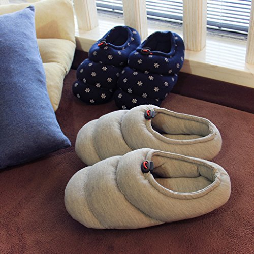 Gris Fortuning Casa Half Acogedora Patrón de Pareja de JDS unisex Calzado Zapatillas algodón Comfy Wrap en espiral xqwRnf