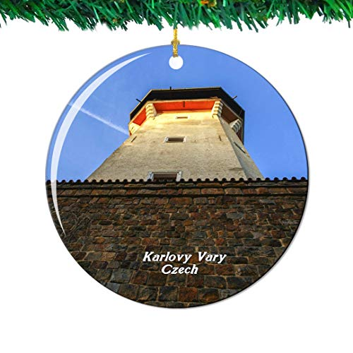 - Weekino Diana Lookout Tower Karlovy Vary Czech Christmas Ornament City Travel Souvenir Collection Double Sided Porcelain 2.85 Inch Hanging Tree Decoration
