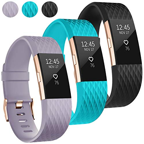 UMAXGET Compatible with Fitbit Charge 2 Bands, 3-Pack Soft Silicone Sport Adjustable Wristband Special Edition with Rose Gold Buckle for Men Women (3-Pack: Black&Teal&Lavender, Small) (Fitbit Charge 2 Lavender Rose Gold Small)
