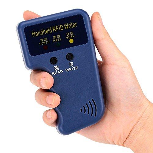 Windfally RFID Reader Writer,RFID Copier,RFID Cloning Handheld RFID Card Copier Duplicator for Door Access Control with 1 RFID Reader Writer +6pcs Writable EM4305 ID Cards +6pcs Writable EM4305 ID Ta by Windfally (Image #2)