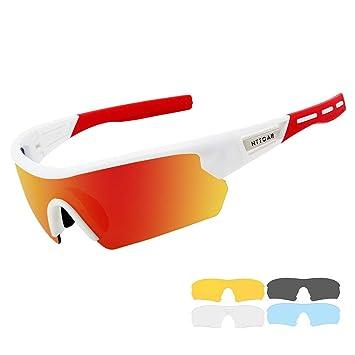 Gafas de Sol Deportivas/Gafas De Sol Polarizadas para Ciclismo ,con 5 Set De Lentes Intercambiables para Hombre Mujer