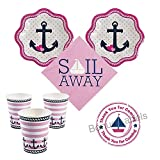 Nautical Girl baby shower Party Supplies 16 guests - cake plates, napkins, cups plus bonus labels