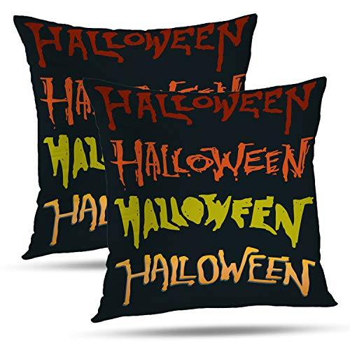 Batmerry Autumn Halloween Decorative Pillow Covers 18x18 inch Set of 2,Scary Grunge Halloween Font Party Hand Holiday Horror October Throw Pillows Covers Sofa Cushion Cover Pillowcase]()