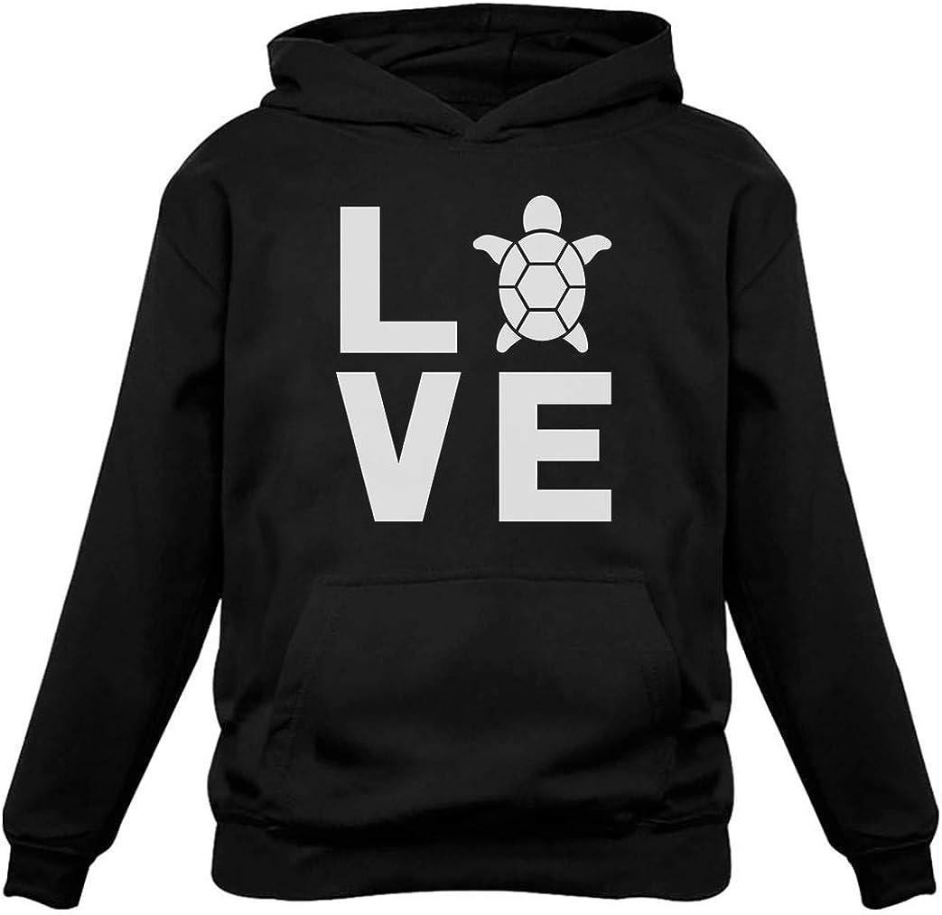 I Love Turtles Sweatshirt Animal Lover Turtle Print Cute Women's Hoodie