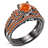 TVS-JEWELS New Orange Gemstone 925 Silver Black Rhodium Plated Bridal Wedding Ring Set (10)
