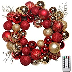 """V&M VALERY MADELYN Pre-Lit 20"""" Luxury Red and Gold Christmas Wreath,Rattan Base, Shatterproof Ball OrnamentsIncluded, Battery Operated 20 LED Lights with Remote and Timer"""