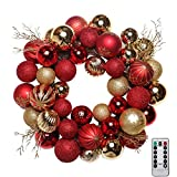 V&M VALERY MADELYN Pre-Lit 20'' Luxury Red and Gold Christmas Wreath,Rattan Base, Shatterproof Ball OrnamentsIncluded, Battery Operated 20 LED Lights with Remote and Timer