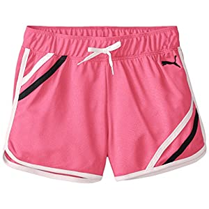 PUMA Big Girls' Mesh Gym Short with Taping