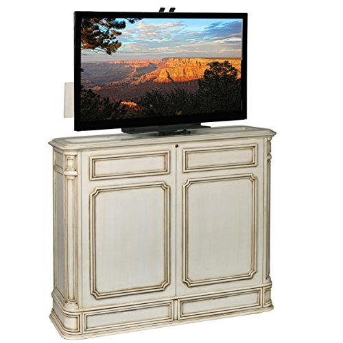 TVLiftCabinet Crystal Pointe 360 Swivel Weathered TV Cabinet, White